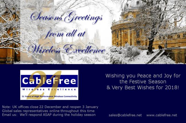 CableFree Seasons Greetings Dec 2017