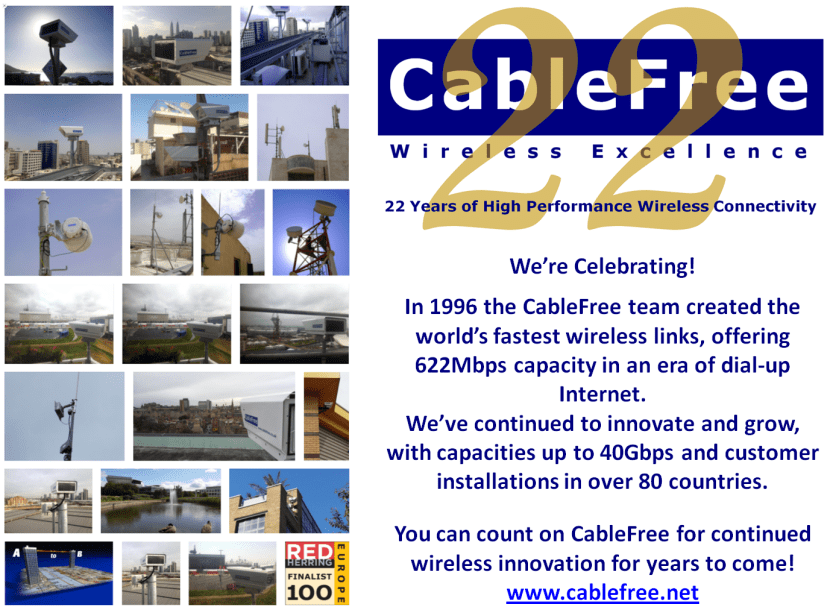 CableFree Celebrates 22 Years of Wireless Innovation