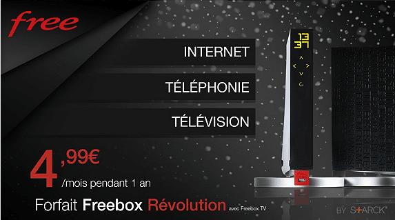 La Freebox Révolution à 4.99€/mois pendant 1 an sur Vente Privée