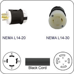 Svga Wiring Diagram Plug Adapter Nema L14 20 Plug To L14 30 Connector 1 Foot