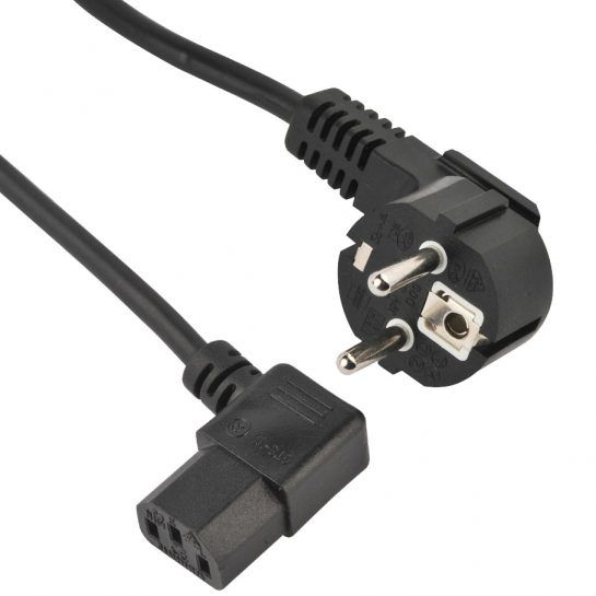 Europe Schuko plug IEC C13 right angle computer power cable
