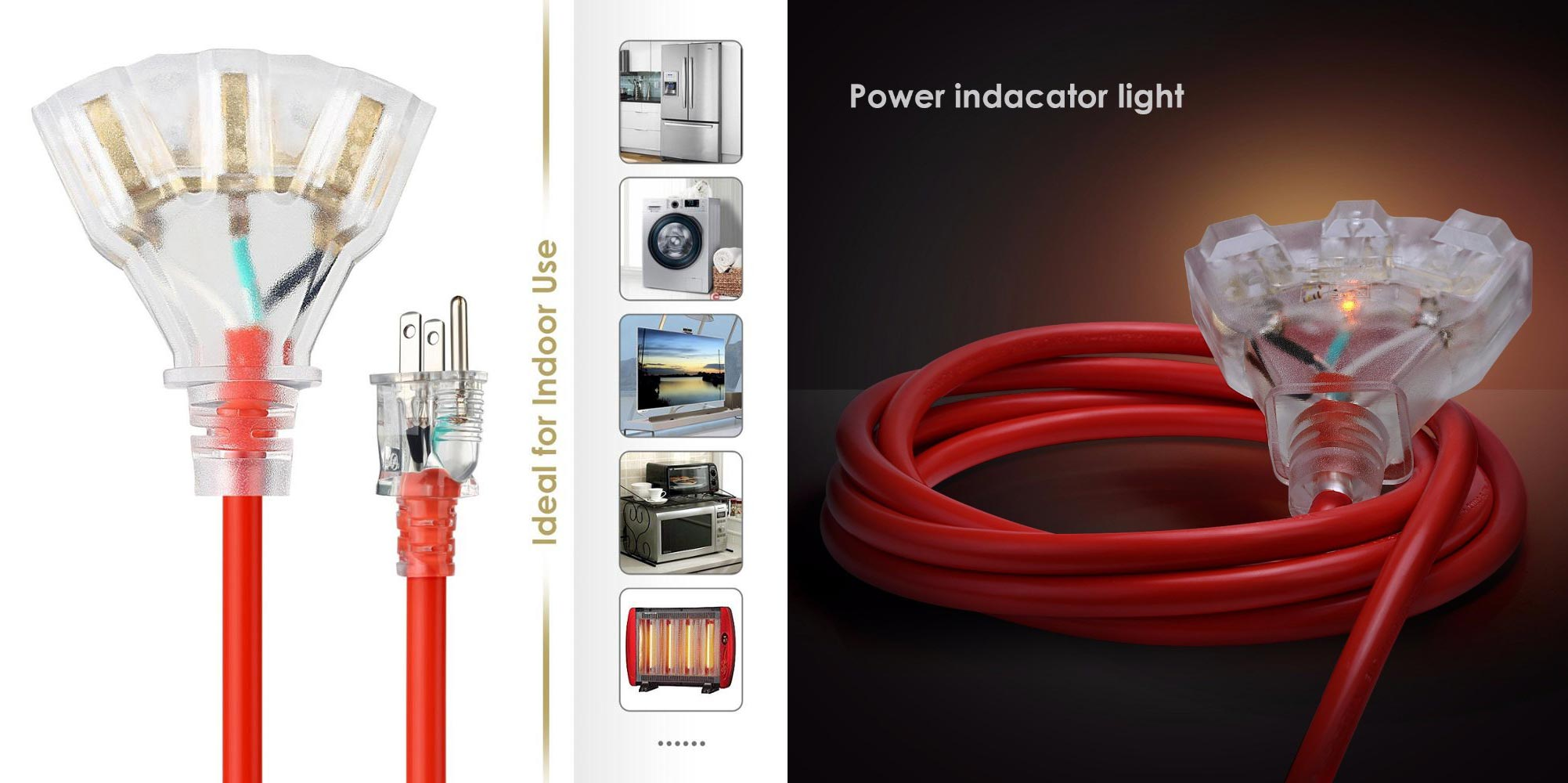 US extension cord with light end
