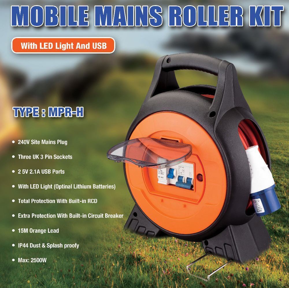 Mains Roller Reel with LED Light