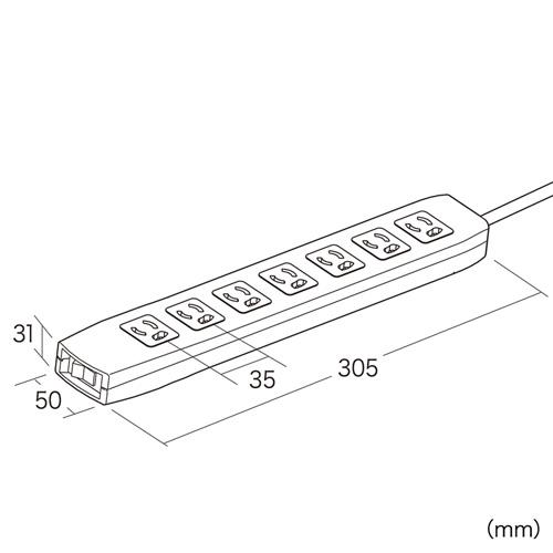 【サンワサプライ】 電源タップ(簡易パッケージタイプ、手元スイッチとサージガード付き、3P・7個口の抜け止めタイプ