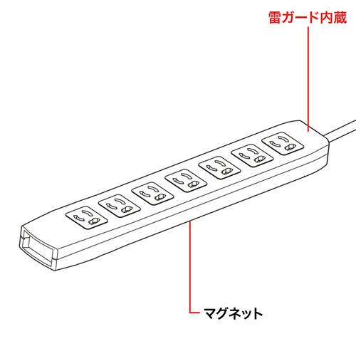 【サンワサプライ】 電源タップ(簡易パッケージタイプ、サージガード付き、3P・7個口の抜け止めタイプ、15A