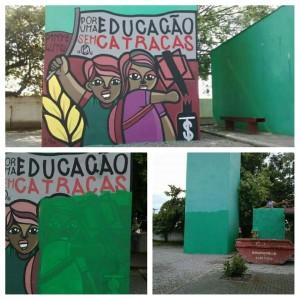 Mural na escola feito por alunos, com apoio do Coletivo Pinte e Lute de muralismo, e que foi apagado como represália à mobilização desse ano.