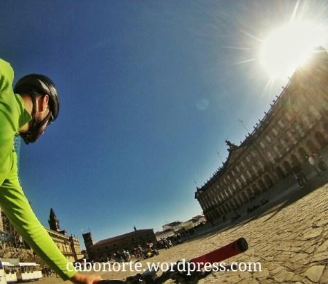 Chegando á Praza do Obradoiro en Compostela