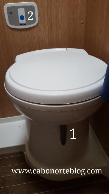 Retrete con 1: palanca de evacuación y 2: cisterna