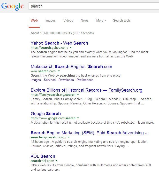 yahoo search versus google search