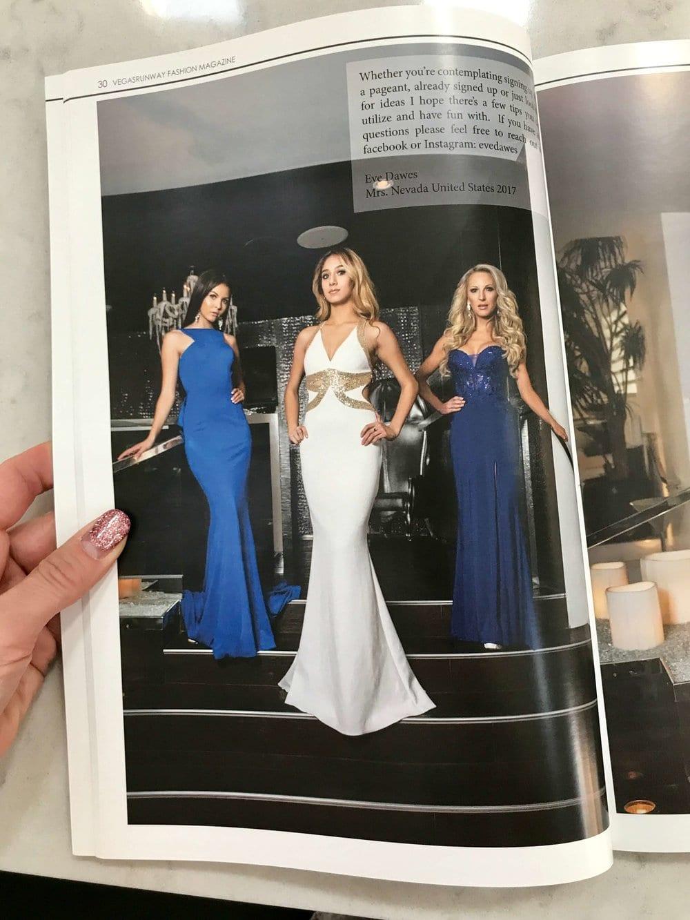 选美皇后伊芙道斯编辑faviana蓝色礼服