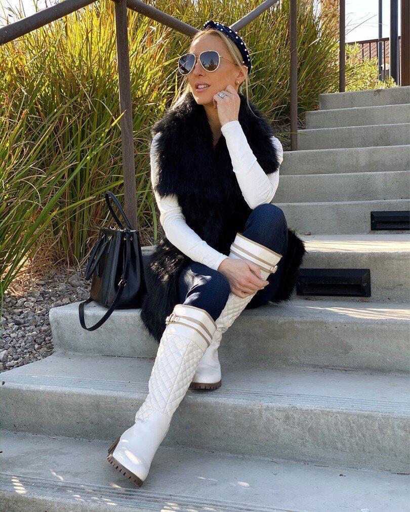 棉袄白膝盖高靴时尚博主的冬天