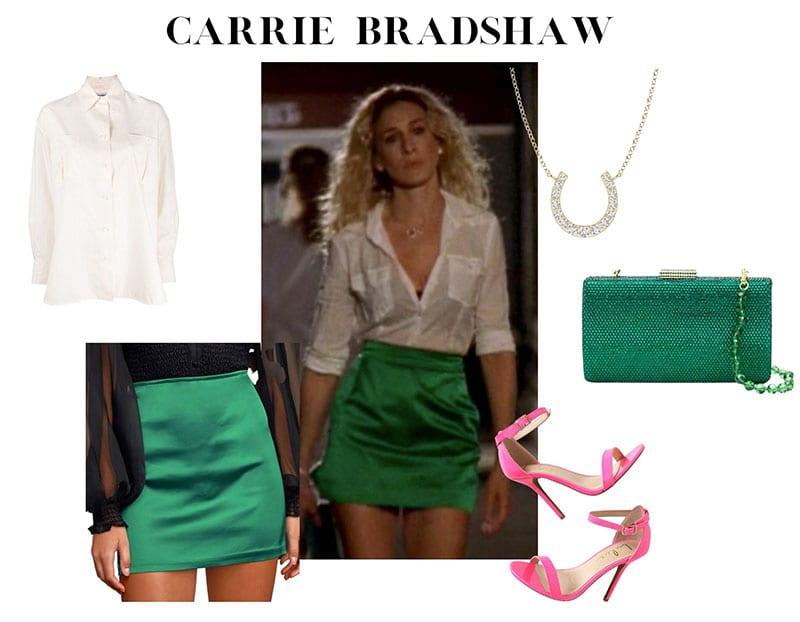 凯莉·布拉德肖绿色缎子裙钻石马蹄项链