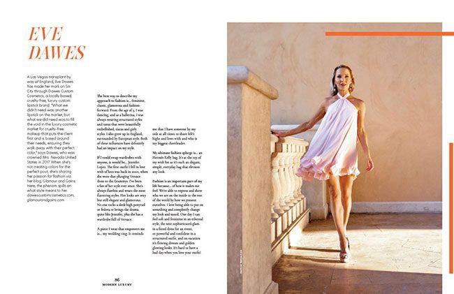 时尚博主伊芙·道斯金色厚底高跟鞋现代奢华拉斯维加斯杂志2021年