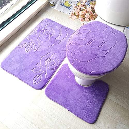 ensemble tapis de bain et contour wc 3 set antiderapant salle de bain motif de fleur housse de toilette violet
