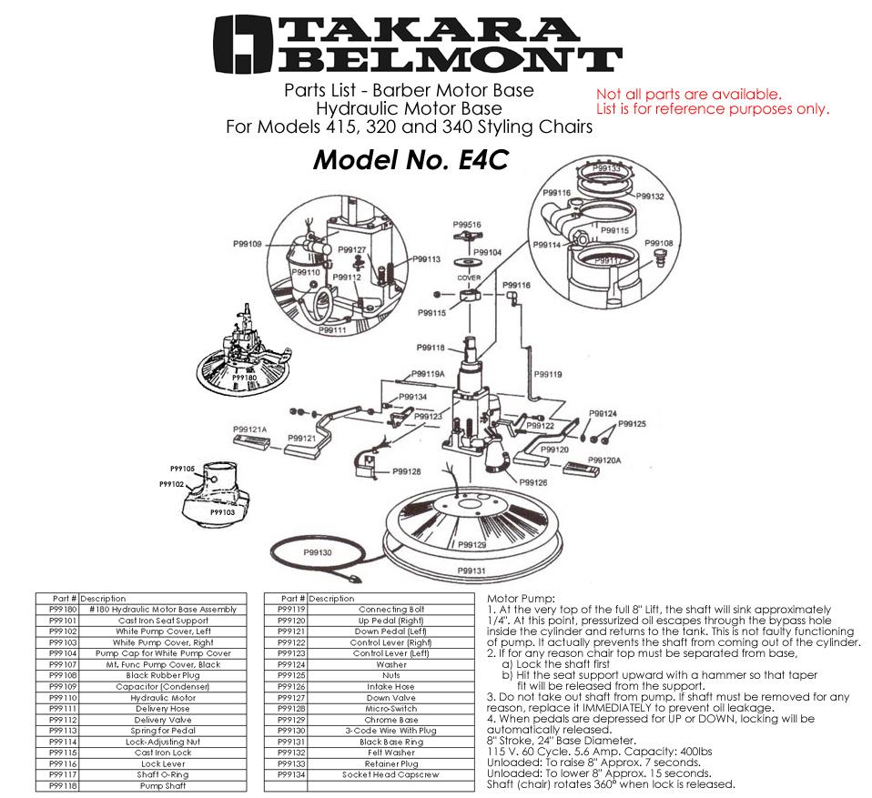 Takara Belmont Chair Parts