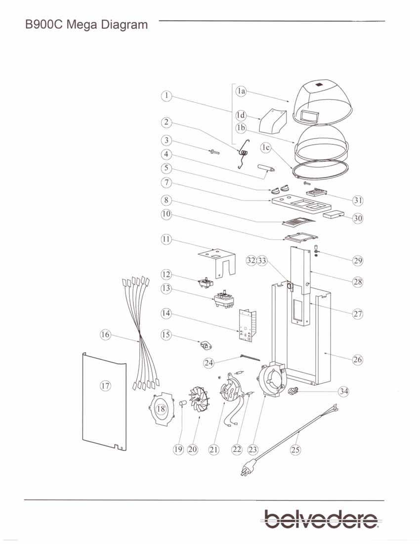 Belvedere Dryer Parts: Belvedere #900 Dryer Parts Diagram