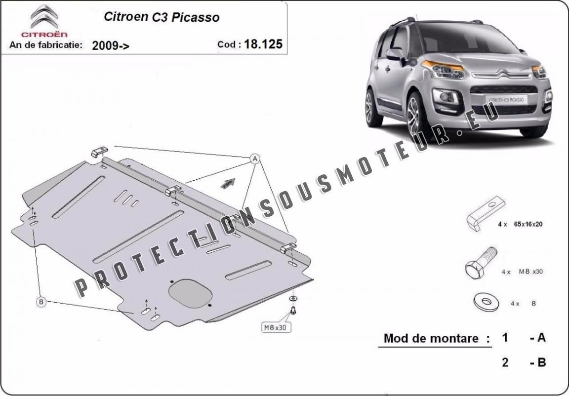 Cache sous moteur et de la boîte de vitesse Citroen C3 Picasso