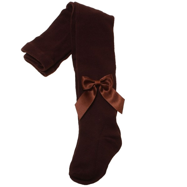 Girls Dark Chocolate Brown Carlomagno Tights With Satin