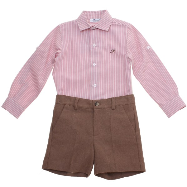 Miranda Toddler Boys Outfit In Dusky Pink Shirt And Brown Shorts 2017 Autumn Winter Style