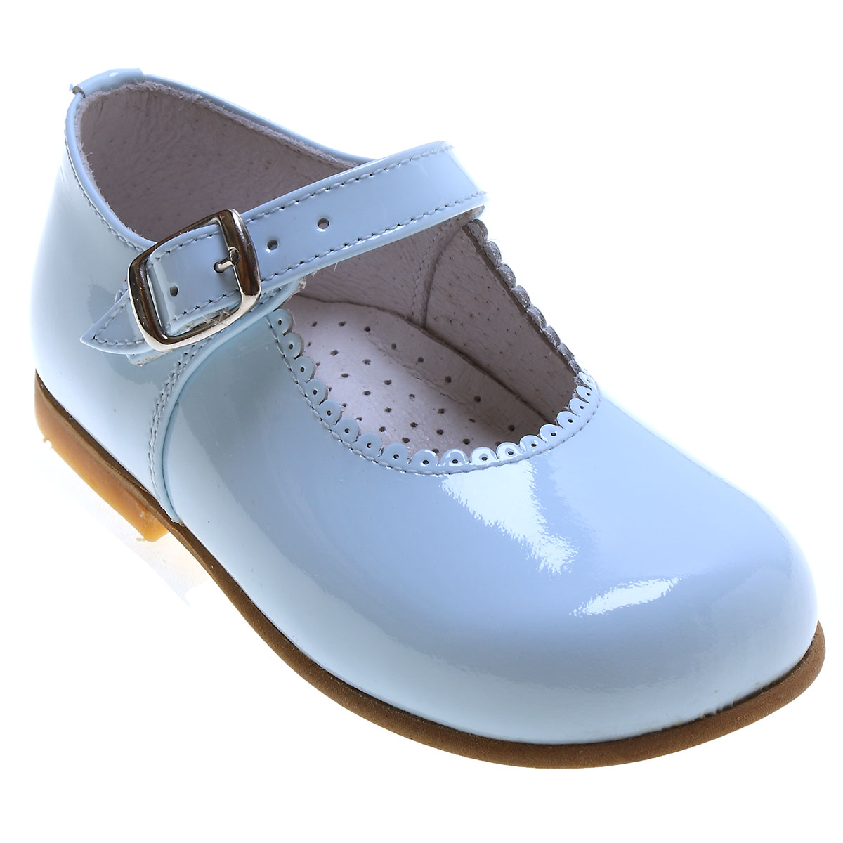 Girls Baby Blue Patent Mary Jane Shoes Scallop Rim