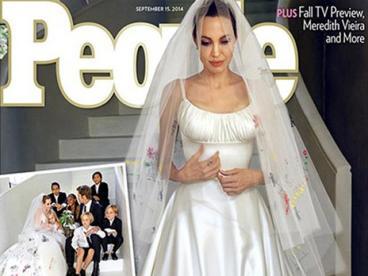 Maddox (13), Pax (10), Zahara (9), Shiloh (8) y los gemelos Vivienne y Knox (6), fueron autores del particular diseño del vestido Versace que lució la actriz.