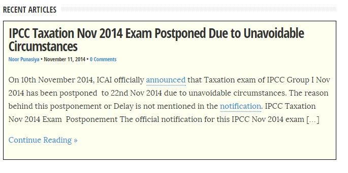 ipcc tax exam postponed nov 2014