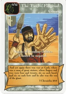 The Twelve-Fingered Giant card from Redemption The Card Game