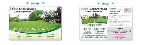 lawn care postcards landscaping