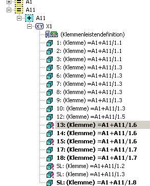 Symbole im Klemmenleistennavigator (Elektrotechnik/EPLAN