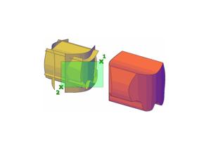 Ejemplo de la ejecución del comando Surfsculpt. donde el (1) es el primer punto de arrastre y el (2) es el punto final.
