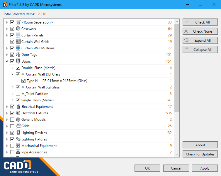 CADD FilterPLUS for Revit