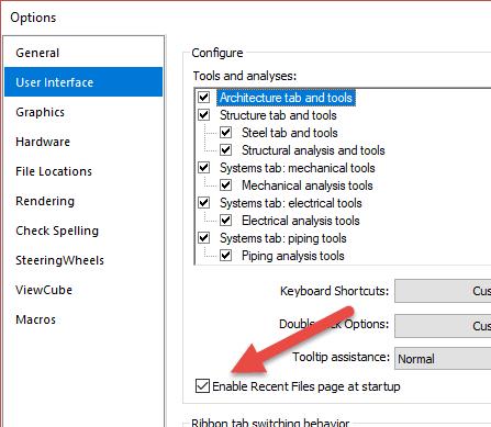 Revit Options Recent Files checkbox