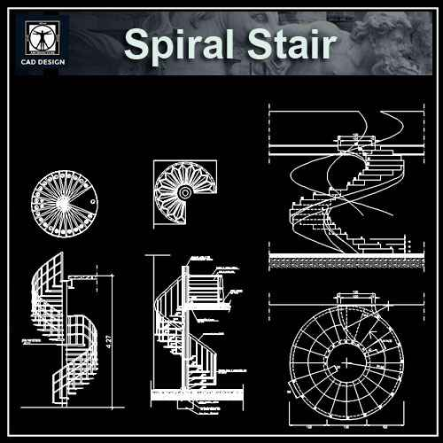 Free Spiral Stair Details – Download AUTOCAD Blocks,Drawings,Details