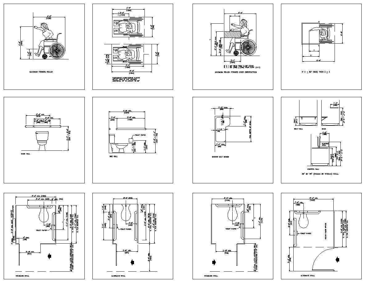 Accessibility facilities v1 download cad blocksdrawings for Autocad ada bathroom blocks