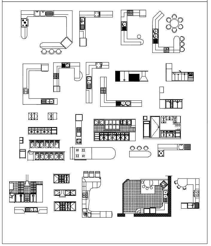 Kitchen Design Autocad Dwg: Download CAD Blocks,Drawings