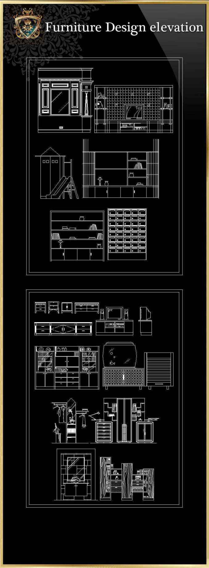 Autocad 3d House Design Software: ALL Furniture Design Elevation(All In One!!)