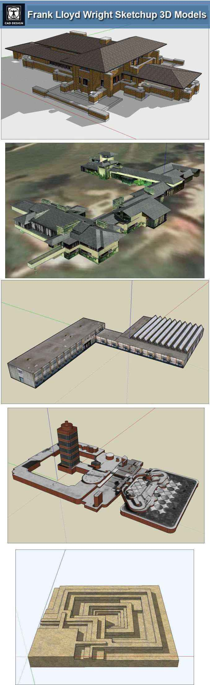 16 Projects Of Frank Lloyd Wright Architecture Sketchup 3D Models