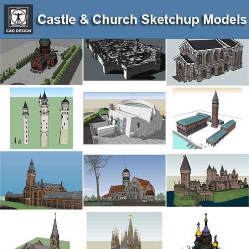 European Castle & Church 3D Models-Sketchup 3D Models(Best