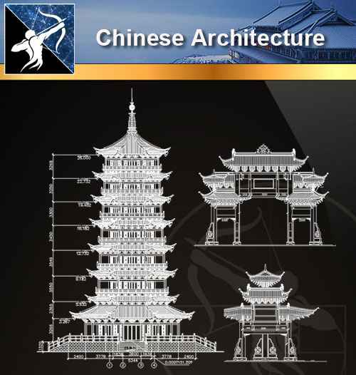 ★【Chinese Architecture-Tower CAD Drawings】@Autocad Blocks,Drawings,CAD Details,Elevation