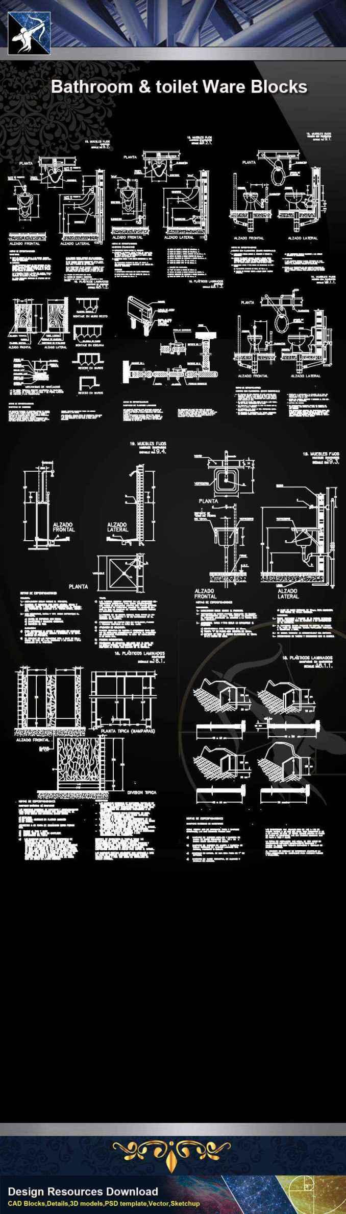 【Architecture CAD Details Collections】Bathroom & Toilet Ware CAD Blocks