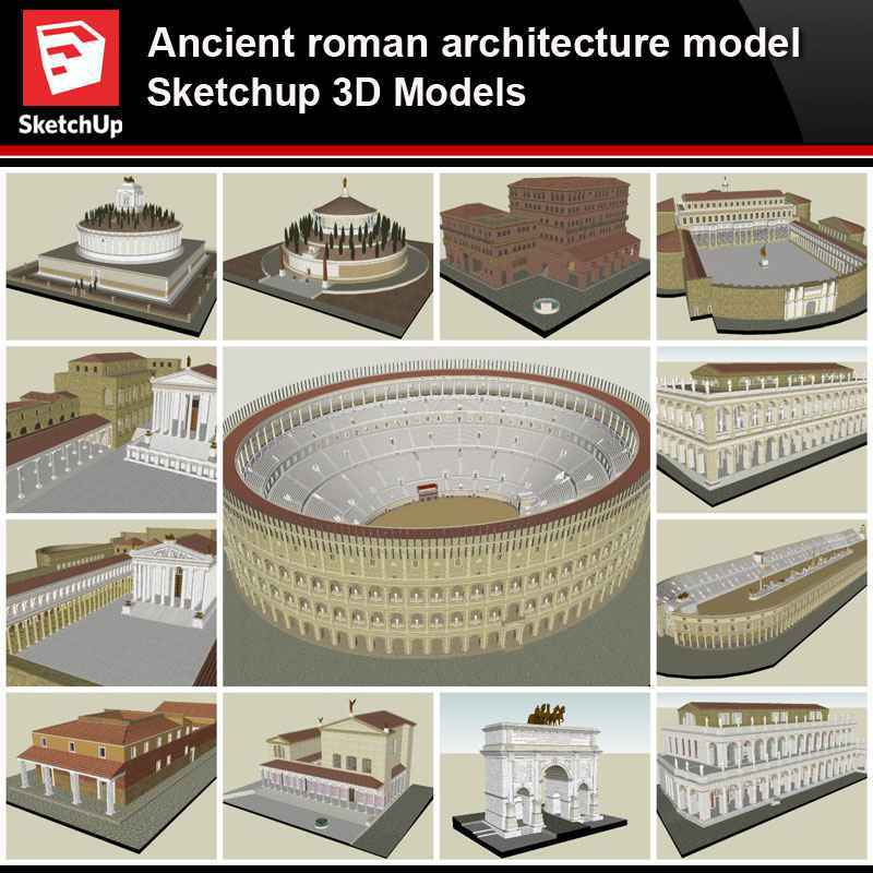 Sketchup Architecture 3d Projects Ancient Roman Architecture Model Sketchup 3d Models V1 Download Autocad Blocks Drawings Details 3d Psd