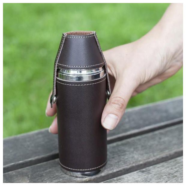 flasque en acier inoxydable et cuir