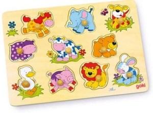 Houten dieren puzzel voor baby's