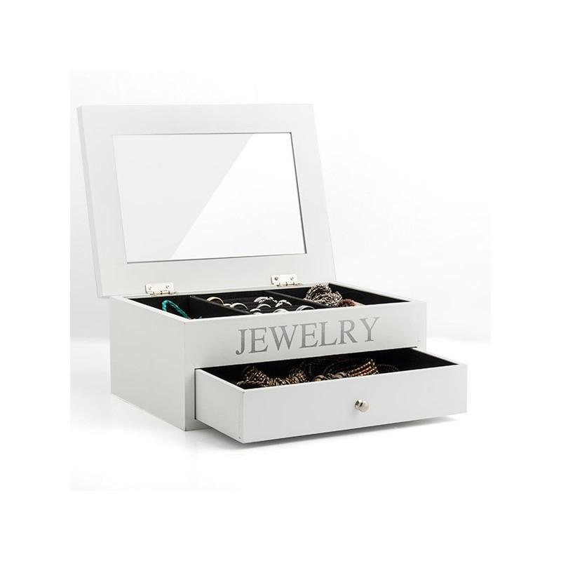 Boite coffret  bijoux en bois avec rangements tiroir et miroir