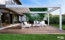 Wall Mounted Pergola with Retractable Canopy
