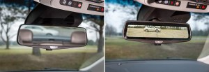 Cadillac's prototype rearview mirror capable of live-streaming an image from a camera mounted on the rear of a vehicle Tuesday, December 9, 2014 in Warren, Michigan. (Photo by Rob Widdis for General Motors)