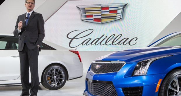 Cadillac President, Johan de Nysschen introducing the 2016 Cadillac ATS-V.