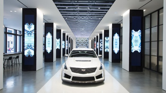 CTS-V, CT6, and XT5 vehicles will be stationed on the runway inside. Copyright Gensler