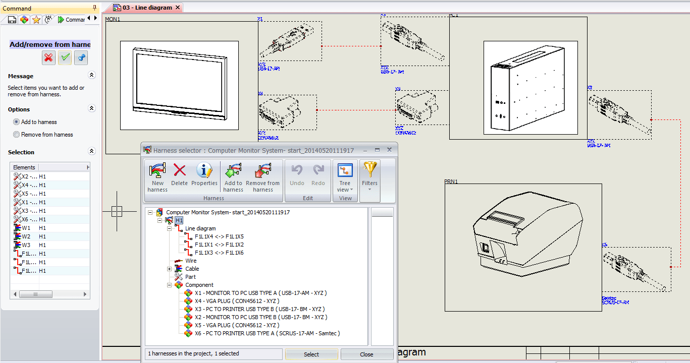 hight resolution of add items to a new harness inside solidworks electrical schematics in order to do this you need to ctrl select hold down the control key and
