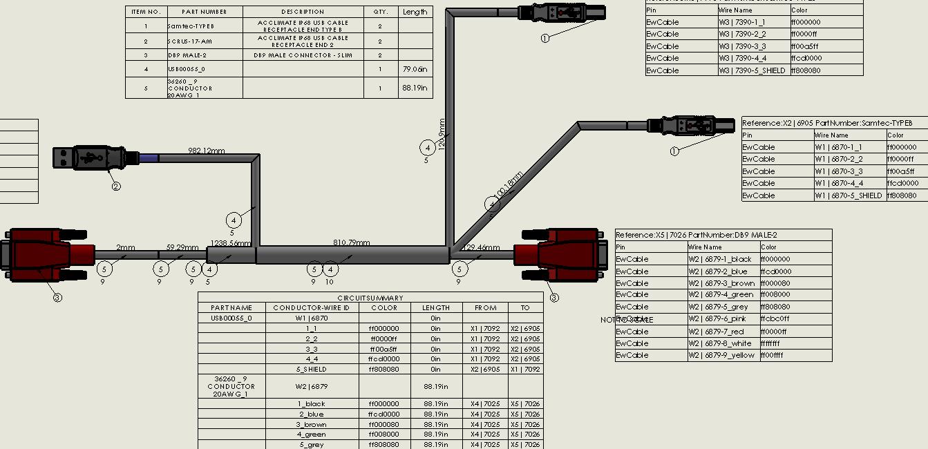 wire harness documentation solidworks